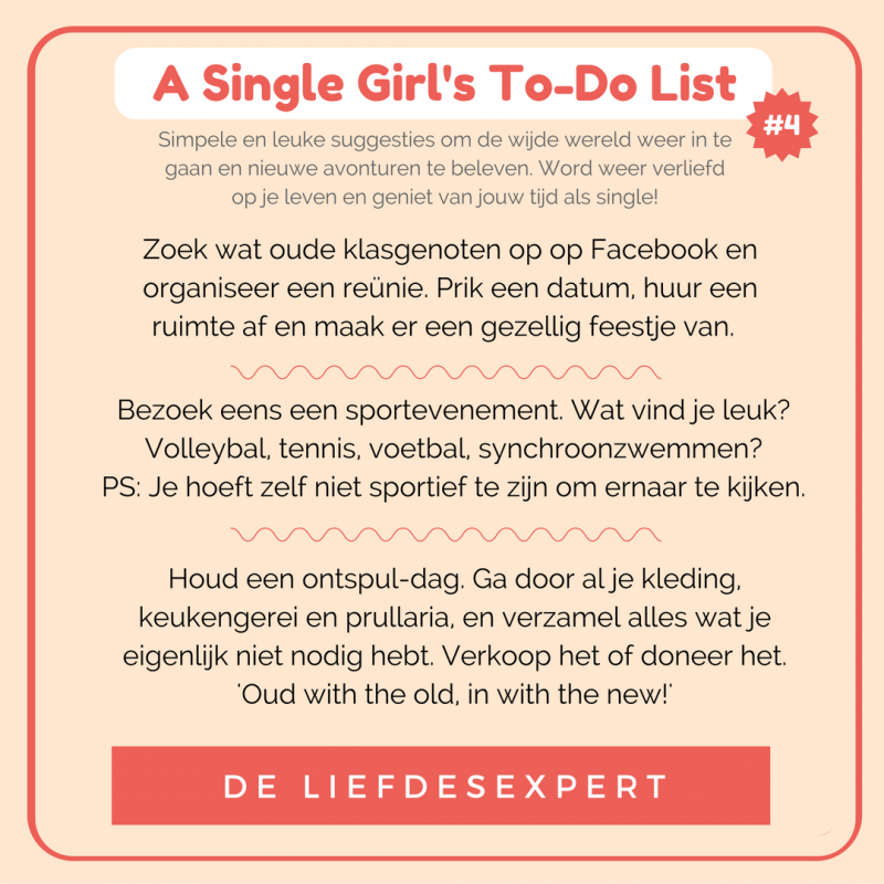 Tips voor Singles. Wat kun je doen nu je weer single bent? Geniet van je leven.